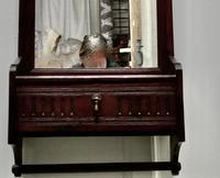 Victorian Mahogany Cloakroom Wall Mirror with Towel Rail (5 of 6)