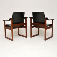 Pair of Vintage Danish Rosewood & Leather Armchairs (3 of 12)