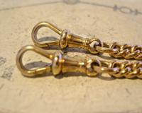 Victorian Pocket Watch Chain 1890s Antique 12ct Rose Gold Filled Albert With T Bar (10 of 12)