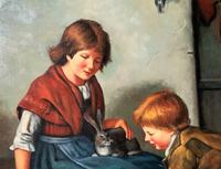 Huge Stunning 20thc Oil Portrait Painting Of 2 Children Playing In A Barn (7 of 12)