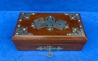 Victorian Brassbound Oak Card Box