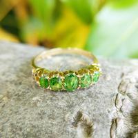 Antique Edwardian Demantoid Garnet Five Stone Ring 1911, Green Garnet (5 of 8)