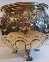19th Century Polished Embossed Brass Planter (3 of 3)