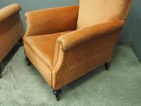 Pair of Victorian Mahogany & Peach Velvet Easy Chairs (14 of 15)