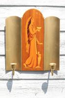 Pair of Swedish Art Deco Double Candle Sconces by Mjolby Intarsia c.1930 (6 of 21)