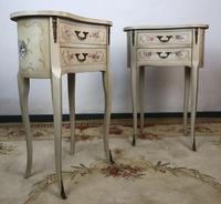 Vintage French Shabby Chic Kidney Shaped Floral Bedside Cabinets (2 of 8)