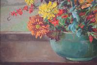 Large Mid Century Oil Painting Still Life of Chrysanthemums (8 of 10)