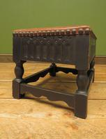 Small Vintage Wooden Black Painted Foot Stool with Brown Leather Top (10 of 17)