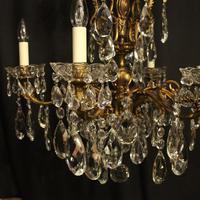 Italian Gilt Bronze & Crystal 6 Light Antique Chandelier (4 of 10)