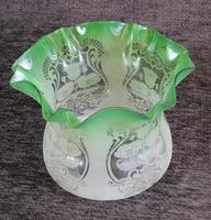 Antique Victorian Green Glass Tulip Oil Lamp Shade Globe (3 of 5)