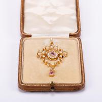 Antique Edwardian 1.07 Carat Pink Tourmaline & Pearl Pendant c.1901 (4 of 6)