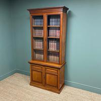 Quality Victorian Walnut Antique Glazed Bookcase on Cupboard (2 of 6)