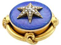0.35ct Diamond & Enamel, 18ct Yellow Gold Brooch - Antique c.1880 (5 of 9)