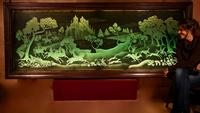 Magnificent Art Deco Illuminated Etched & Engraved Very Large Glass Wall Decoration (13 of 13)