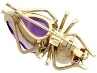 12.39ct Amethyst, Pearl & Ruby, 14ct Yellow Gold Insect Brooch - Vintage c.1960 (5 of 9)