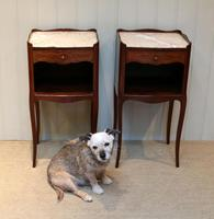 Pair of French Mahogany Inlaid Bedside Cabinets (9 of 10)