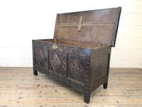 Antique 18th Century Carved Oak Coffer (M-1635) (11 of 13)