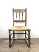 Antique Ash & Elm Rocking Chair with Rush Seat (10 of 12)