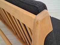 Danish Design by Børge Mogensen, Sofa Model 217, Completely Reupholstered 1970s, Furniture Wool, Oak (6 of 13)
