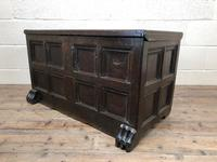 Antique Rare 17th Century Oak Coffer with Block Paw Feet (M-716) (12 of 16)