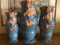 Carlton Ware Embossed Jugs Blue Nightime Oak Pattern c.1935 (6 of 11)