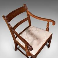 Set of 4, Antique Dining Chairs, English, Mahogany, Pair Of Carvers, Regency (10 of 12)