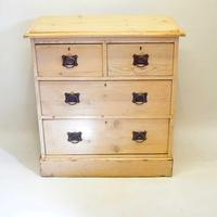 Small Arts & Crafts Pine Chest of Drawers, Refurbished  Rustic (3 of 17)
