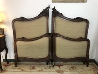 Antique French Bespoke Carved & Upholstered Extra Large Bed Frame (12 of 16)