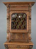 Carved Oak Leaded Glass Bookcase Cabinet (2 of 8)