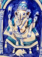 Vintage Bombay Porcelain Vase Featuring Hindu God Ganesh Standing on a Mouse (5 of 8)