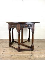 Carved Oak Fold-over Demi Lune Table (7 of 10)