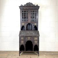 Antique Victorian Oak Bureau Bookcase