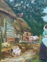 Wonderful Original Signed Vintage Oil Painting - Pretty Milkmaid in Farmyard (6 of 12)
