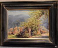Garden scene oil painting by V. Rawlins (2 of 7)