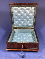 Victorian  French Burr Cedar Jewellery Box with ebonised fruitwood and original interior (12 of 13)