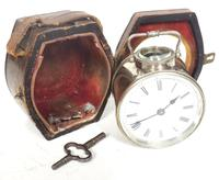 Extremely Rare Miniature Carriage Clock Round Silver Case with Original Case & Platform (9 of 11)