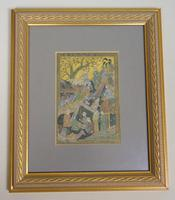 19th Century Mughal Style Indian Painting on Silk
