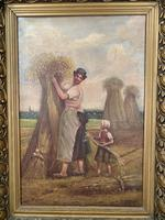 Antique French oil painting landscape harvest scene signed E Cornaud dated 1888 (5 of 10)
