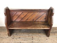 Antique Pitch Pine Church Pew with Enamel Number 27 (2 of 13)