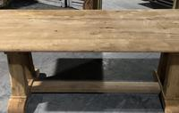 French Bleached Oak Trestle Farmhouse Dining Table (12 of 18)