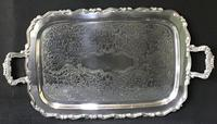 Large Silver Plated 2 Handle Butlers Tray