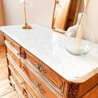 French Antique Style Walnut Chest of Drawers with Marble (3 of 6)