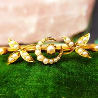 Vintage 14ct Yellow Gold Crescent Moon Pearl Bangle (3 of 8)