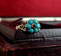 Antique Georgian mourning ring, Ruby and turquoise (6 of 10)
