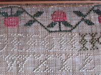 George IV English Adam & Eve Silk on Linen Needlework Sampler, 1825 in Original Frame (4 of 9)