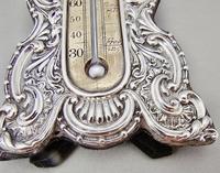 Rare Art Nouveau Silver Desk Thermometer by J. Batson & Son, London 1903 (4 of 7)