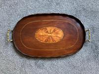 Good Victorian Mahogany Inlaid Oval Tray