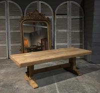 Large French Bleached Oak Trestle Farmhouse Dining Table (4 of 16)