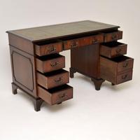 Antique Georgian Style Mahogany Leather Top Pedestal Desk (2 of 10)