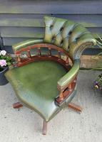 Vintage Mahogany Green Leather Captains Chair (5 of 6)